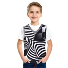 Op Art Black White Drawing Kids  Sportswear