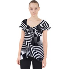 Op Art Black White Drawing Lace Front Dolly Top