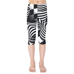 Op Art Black White Drawing Kids  Capri Leggings