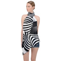 Op Art Black White Drawing Halter Asymmetric Satin Top
