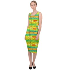 Birds Beach Sun Abstract Pattern Sleeveless Pencil Dress