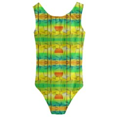 Birds Beach Sun Abstract Pattern Kids  Cut Out Back One Piece Swimsuit