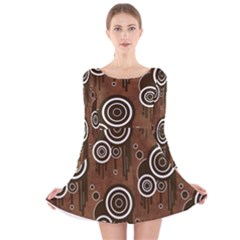 Abstract Background Brown Swirls Long Sleeve Velvet Skater Dress