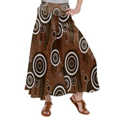 Abstract Background Brown Swirls Satin Palazzo Pants