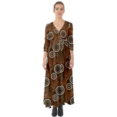 Abstract Background Brown Swirls Button Up Boho Maxi Dress