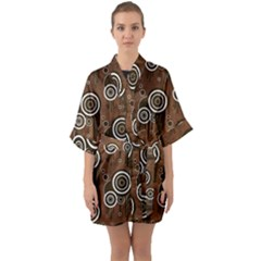 Abstract Background Brown Swirls Quarter Sleeve Kimono Robe
