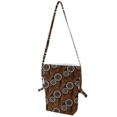 Abstract Background Brown Swirls Folding Shoulder Bag