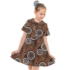 Abstract Background Brown Swirls Kids  Short Sleeve Shirt Dress