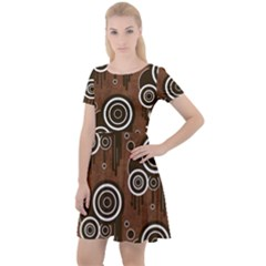 Abstract Background Brown Swirls Cap Sleeve Velour Dress