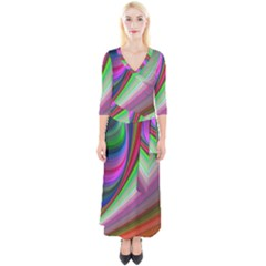 Illusion Background Blend Quarter Sleeve Wrap Maxi Dress