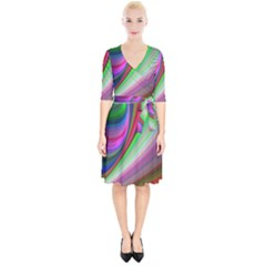 Illusion Background Blend Wrap Up Cocktail Dress
