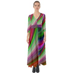 Illusion Background Blend Button Up Boho Maxi Dress