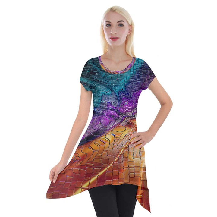 Graphics Imagination The Background Short Sleeve Side Drop Tunic