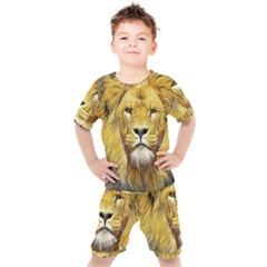 Lion Lioness Wildlife Hunter Kids  Tee And Shorts Set
