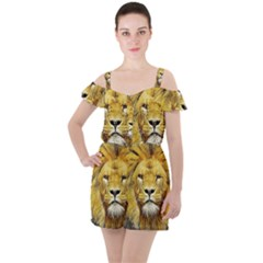 Lion Lioness Wildlife Hunter Ruffle Cut Out Chiffon Playsuit