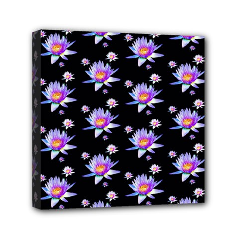 Flowers Pattern Background Lilac Mini Canvas 6  X 6  (stretched)