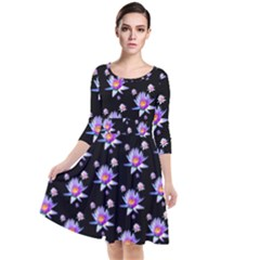 Flowers Pattern Background Lilac Quarter Sleeve Waist Band Dress