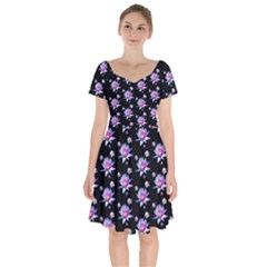 Flowers Pattern Background Lilac Short Sleeve Bardot Dress