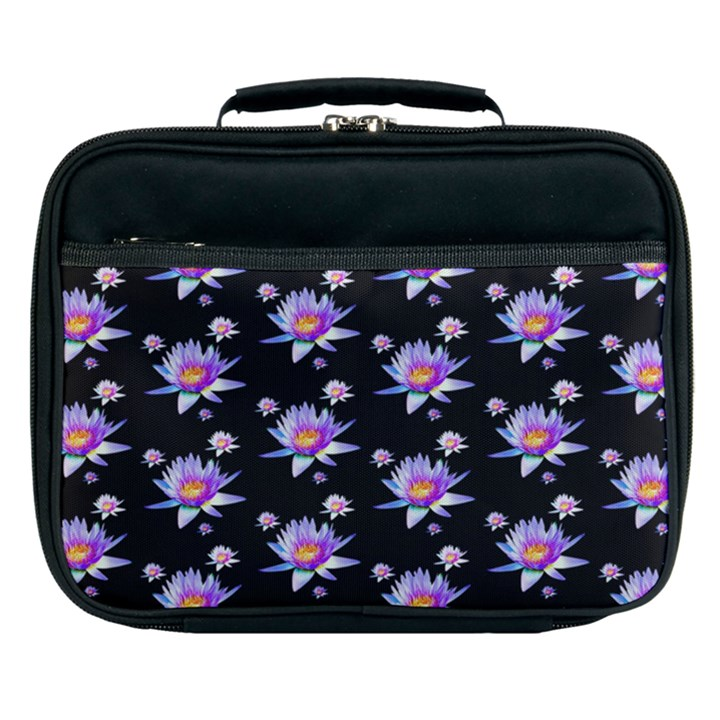 Flowers Pattern Background Lilac Lunch Bag