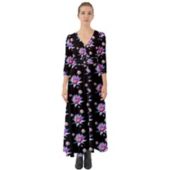 Flowers Pattern Background Lilac Button Up Boho Maxi Dress