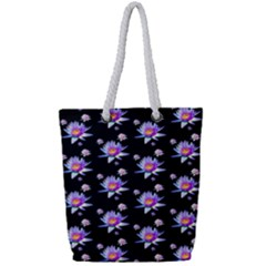 Flowers Pattern Background Lilac Full Print Rope Handle Tote (small)