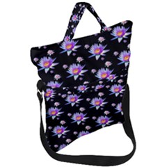 Flowers Pattern Background Lilac Fold Over Handle Tote Bag
