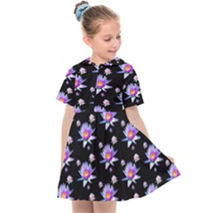 Flowers Pattern Background Lilac Kids  Sailor Dress by Pakrebo