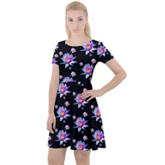 Flowers Pattern Background Lilac Cap Sleeve Velour Dress