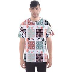 Mint Black Coral Heart Paisley Men s Sports Mesh Tee
