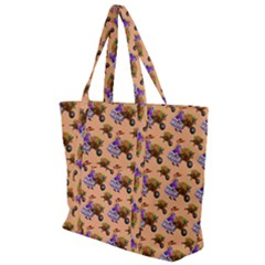 Flowers Girl Barrow Wheel Barrow Zip Up Canvas Bag
