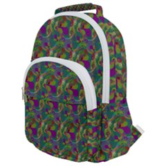 Pattern Abstract Paisley Swirls Rounded Multi Pocket Backpack by Pakrebo