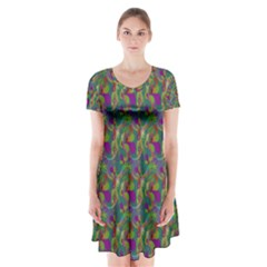 Pattern Abstract Paisley Swirls Short Sleeve V Neck Flare Dress