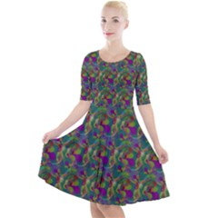Pattern Abstract Paisley Swirls Quarter Sleeve A Line Dress by Pakrebo