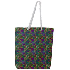 Pattern Abstract Paisley Swirls Full Print Rope Handle Tote (large)