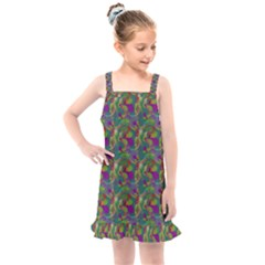 Pattern Abstract Paisley Swirls Kids  Overall Dress by Pakrebo