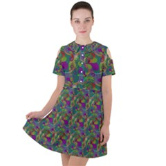 Pattern Abstract Paisley Swirls Short Sleeve Shoulder Cut Out Dress
