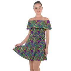 Pattern Abstract Paisley Swirls Off Shoulder Velour Dress