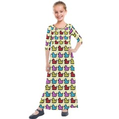 Ducklings Background Ducks Cute Kids  Quarter Sleeve Maxi Dress