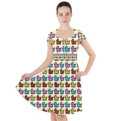 Ducklings Background Ducks Cute Cap Sleeve Midi Dress