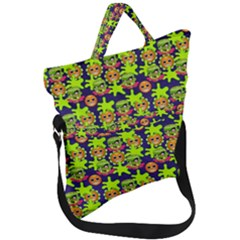 Smiley Background Smiley Grunge Fold Over Handle Tote Bag
