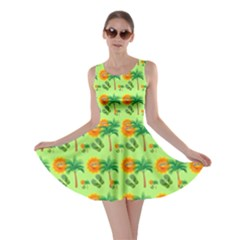 Holiday Tropical Smiley Face Palm Skater Dress