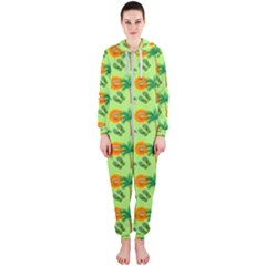 Holiday Tropical Smiley Face Palm Hooded Jumpsuit (ladies)