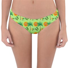 Holiday Tropical Smiley Face Palm Reversible Hipster Bikini Bottoms