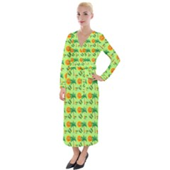 Holiday Tropical Smiley Face Palm Velvet Maxi Wrap Dress