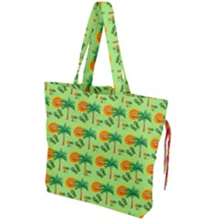 Holiday Tropical Smiley Face Palm Drawstring Tote Bag