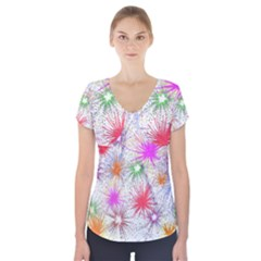 Star Dab Farbkleckse Leaf Flower Short Sleeve Front Detail Top