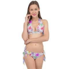 Star Dab Farbkleckse Leaf Flower Tie It Up Bikini Set