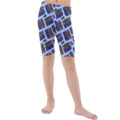 Abstract Pattern Seamless Artwork Kids  Mid Length Swim Shorts