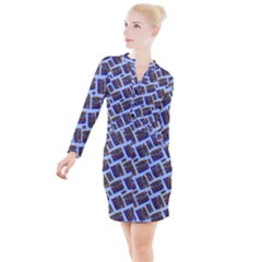 Abstract Pattern Seamless Artwork Button Long Sleeve Dress