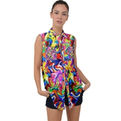 135 Sleeveless Chiffon Button Shirt by ArtworkByPatrick